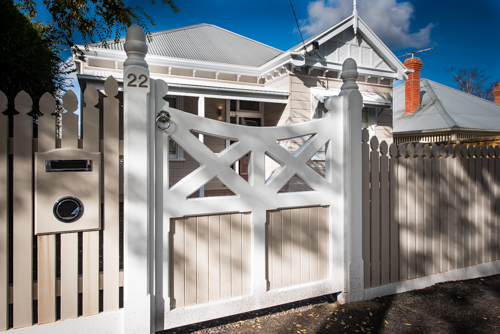 Picket fence with feature wooden gate Acorn posts
