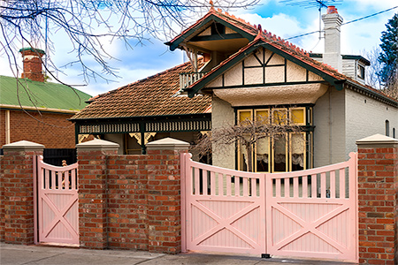 Wooden pedestrian and driveway gates, Melbourne