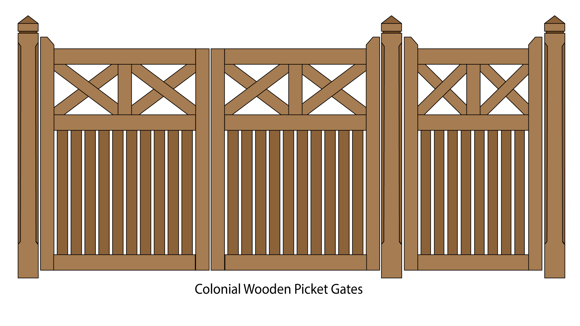 Colonial Wooden Picket Pedestrian and Driveway Gates