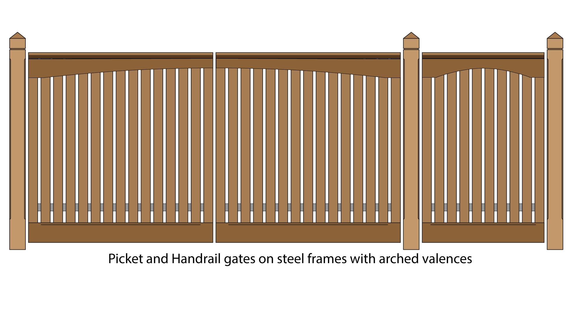 Picket and handrail gates  with arched valences