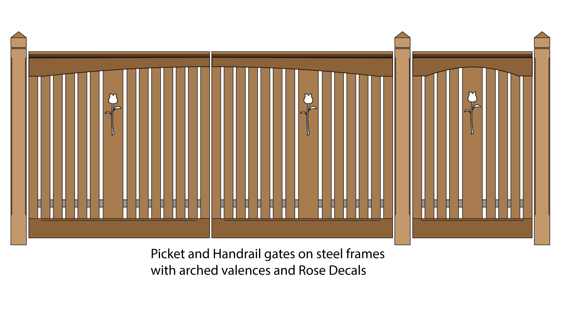 Picket and Handrail pedestrian and driveway gates with arched valences and Rose Decals
