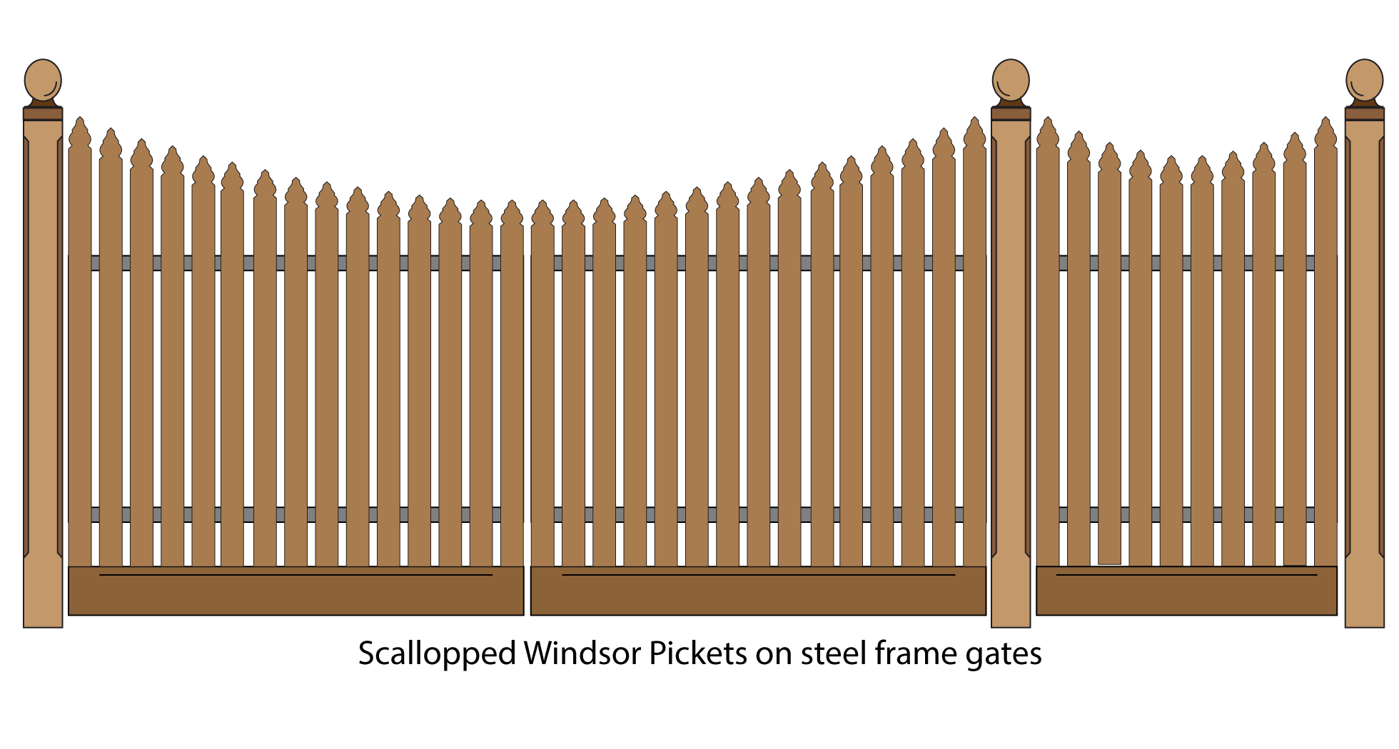 Scallopped windsor pickets on steel framed gates