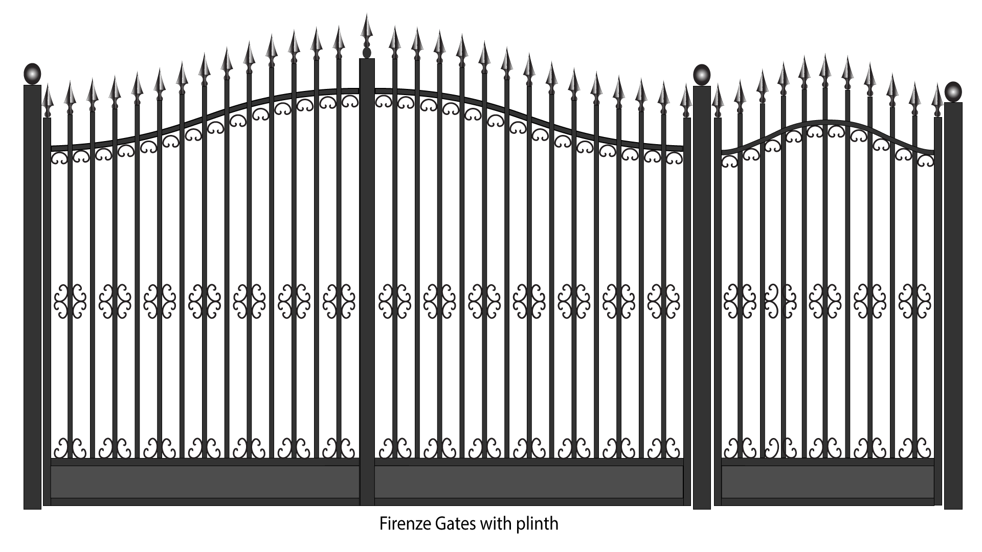 metal fence gate. firenze steel gates with plinth metal fence gate